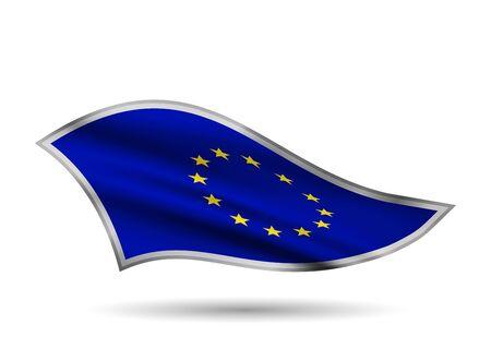 Waving Flag of European Union. Cap-band stylized. Иллюстрация