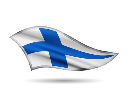 Waving Flag of Finland. Cap-band stylized.