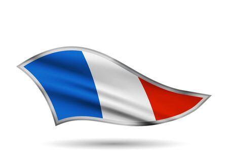 Dynamic Waving Flag of France. Cap-band stylized.