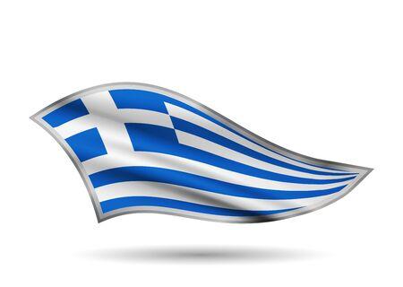 Dynamic Waving Flag of Greece. Cap-band stylized.