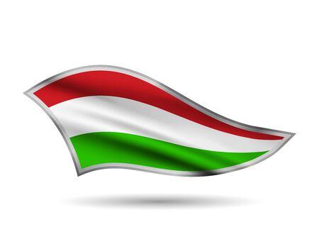 Waving Flag of Hungary. Cap-band stylized. Иллюстрация