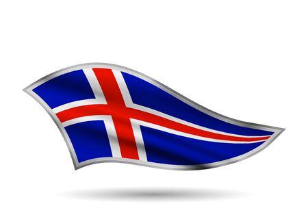 Waving Flag of Iceland. Cap-band stylized. Иллюстрация