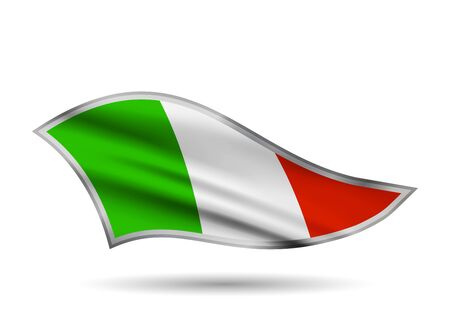 Dynamic Waving Flag of Italy. Cap-band stylized.