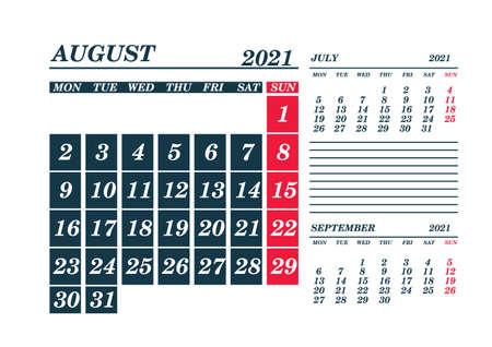 2021 August Calendar Planner. Template. Mockv up. Vector illustration.
