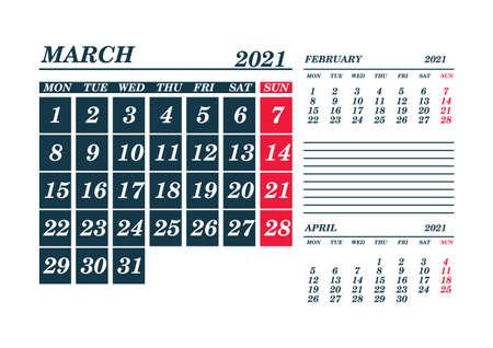 2021 March Calendar Planner. Template. Mock up. Vector illustration.