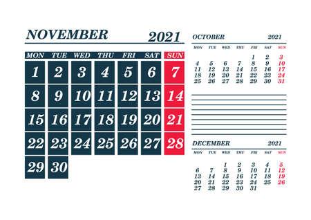 2021 November Calendar Planner. Template. Mock up. Vector illustration. 向量圖像