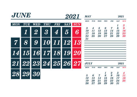2021 June Calendar Planner. Template. Mock up. Vector illustration. 向量圖像