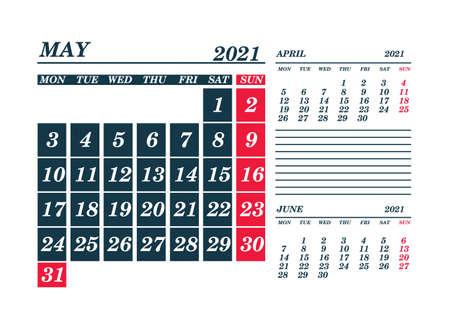 2021 May Calendar Planner. Template. Mock up. Vector illustration.