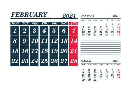2021 February Calendar Planner. Template. Mock up. Vector illustration.