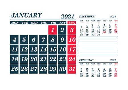 2021 January Calendar Planner. Template. Mock up. Vector illustration.