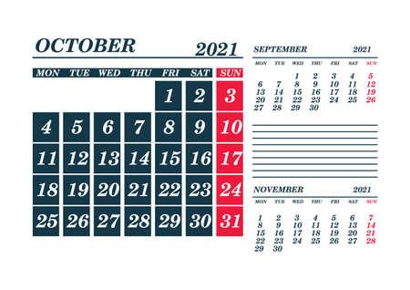 2021 October Calendar Planner. Template. Mock up. Vector illustration.