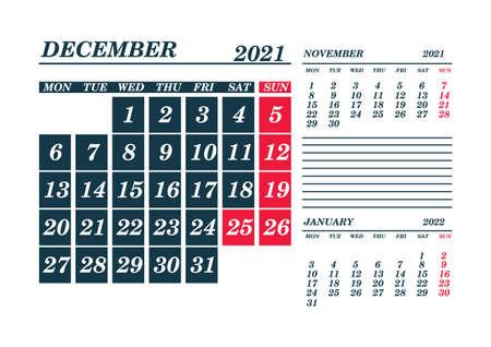 2021 December Calendar Planner. Template. Mock up. Vector illustration. 向量圖像
