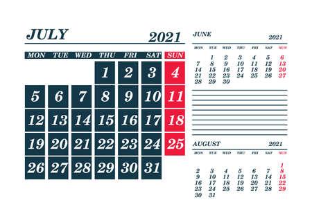 2021 July Calendar Planner. Template. Mock up. Vector illustration. 向量圖像