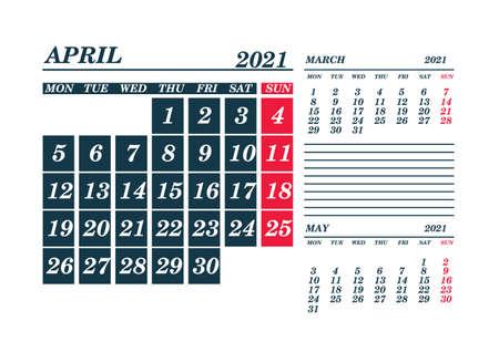 2021 April Calendar Planner. Template. Mockv up. Vector illustration.