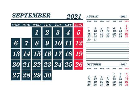 2021 September Calendar Planner. Template. Mock up. Vector illustration.