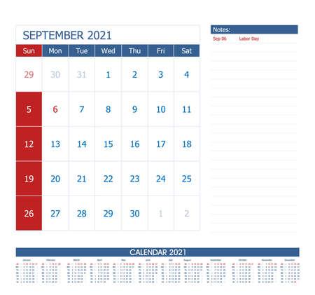 September 2021 Calendar Planner. Office calendar vector template. 向量圖像