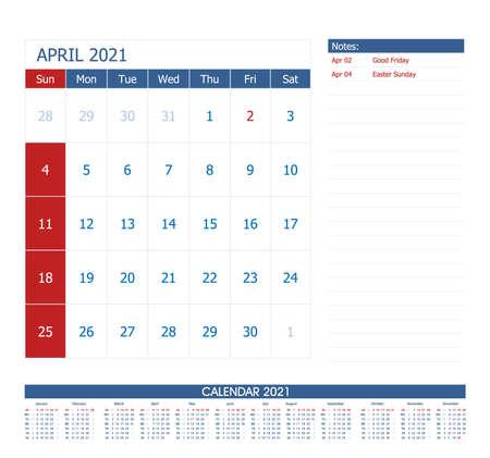 April 2021 Calendar Planner. Office calendar vector template.