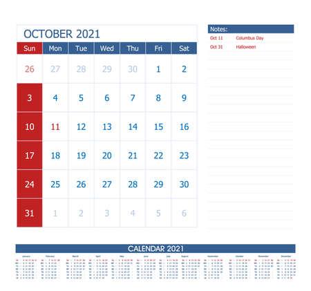 October 2021 Calendar Planner. Office calendar vector template.