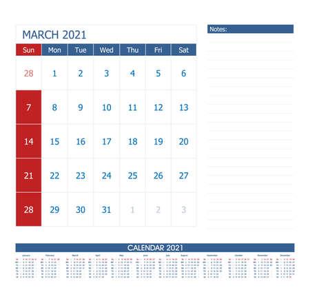 March 2021 Calendar Planner. Office calendar vector template. 向量圖像
