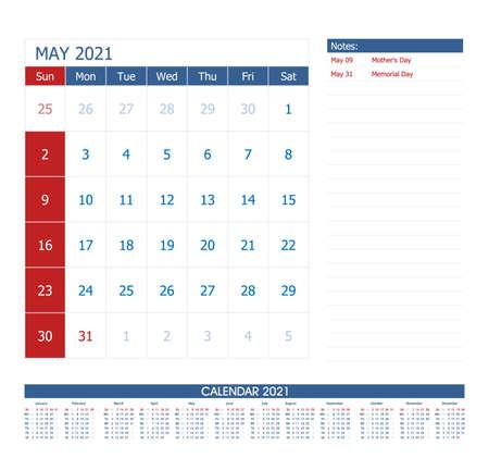 May 2021 Calendar Planner. Office calendar vector template.