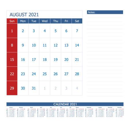 August 2021 Calendar Planner. Office calendar vector template. 向量圖像