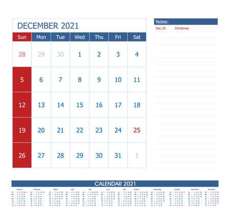 December 2021 Calendar Planner. Office calendar vector template.
