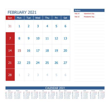 February 2021 Calendar Planner. Office calendar vector template.
