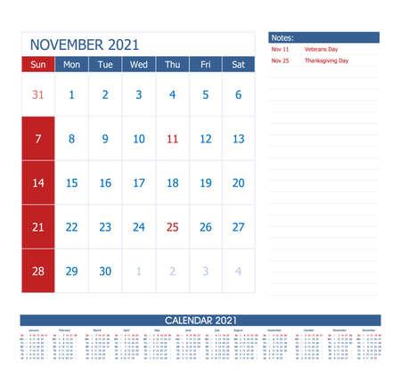 November 2021 Calendar Planner. Office calendar vector template. Ilustración de vector