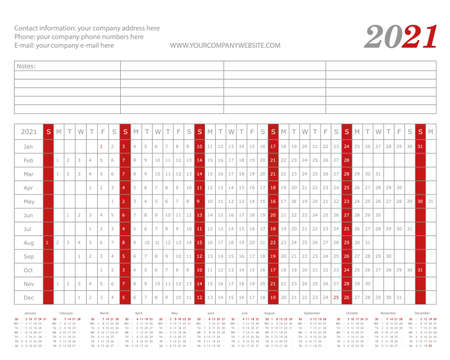 2021 easy to write year planner. Landscape layout. Empty space for notes. Vector office template.