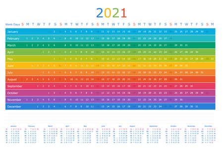 Calendar year 2021 horizontal vector design template. Rainbow design. Calendar for 2021 on White Background for organization and business. Week Starts Sunday. 向量圖像
