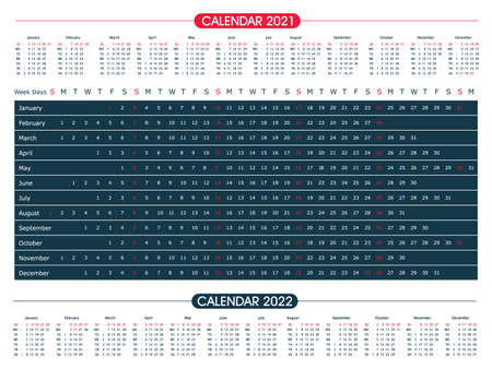 Calendar year 2021 horizontal vector design template. Office design. Calendar for 2021 on White Background for organization and business. Week Starts Sunday. 向量圖像