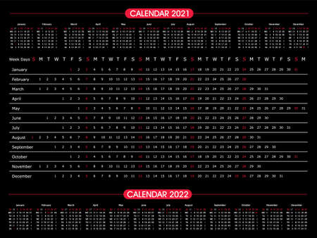 Calendar year 2021 horizontal vector design template. Black and Red. Office design. Calendar for 2021 on White Background for organization and business. Week Starts Sunday. 向量圖像