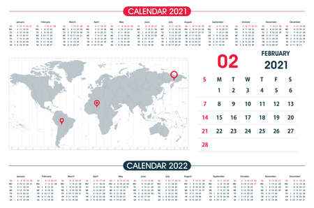 February Calendar year 2021 and World Map Time Zone. Office design. Calendar for 2021 on White Background for organization and business. Week Starts Sunday.