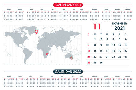 November Calendar year 2021 and World Map Time Zone. Office design. Calendar for 2021 on White Background for organization and business. Week Starts Sunday.