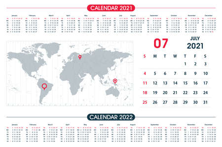July Calendar year 2021 and World Map Time Zone. Office design. Calendar for 2021 on White Background for organization and business. Week Starts Sunday.