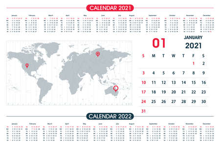 January Calendar year 2021 and World Map Time Zone. Office design. Calendar for 2021 on White Background for organization and business. Week Starts Sunday.