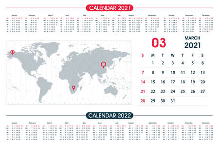 March Calendar year 2021 and World Map Time Zone. Office design. Calendar for 2021 on White Background for organization and business. Week Starts Sunday.