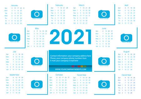 Calendar 2021 Blue Vector Flat Design Template. Week Starts Sunday. Vector. Ilustración de vector