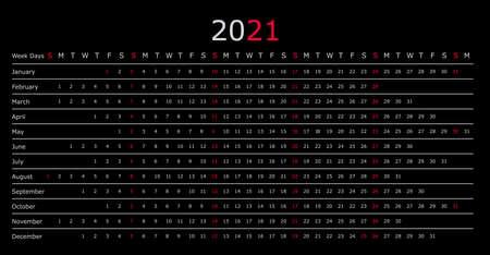 Calendar year 2021 horizontal vector design template. Calendar for 2021 on Black Background for organization and business. Week Starts Sunday. 向量圖像