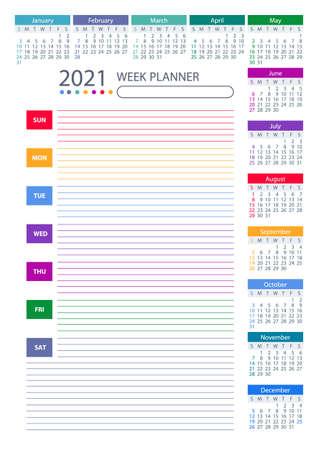 2021 Week Planner Calendar. Colorful design. Week starts sunday. Poster Vector Template. 向量圖像