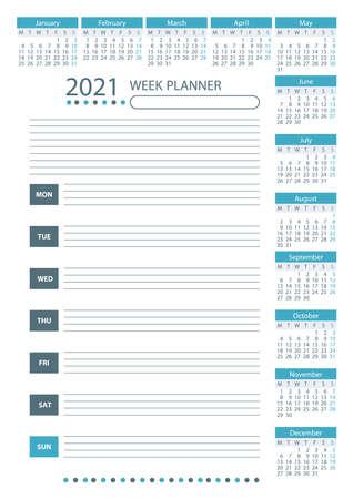 2021 Week Planner Calendar. Week starts monday. Blue color. Poster Vector Template. 向量圖像