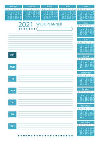 2021 Week Planner Calendar. Teal color. Week starts sunday. Poster Vector Template.