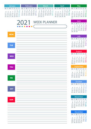 2021 Week Planner Calendar. Week starts monday. Color. Poster Vector Template.
