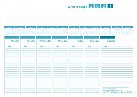 Week Planner 2021 Calendar Vector Design Template. Blue color. Week Starts Monday. For office or private use.