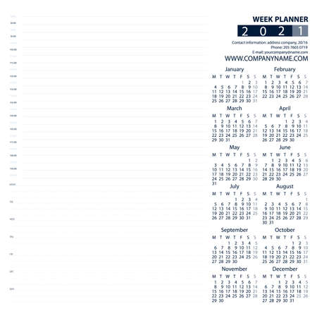 2021 Week and Day Planner Calendar. Blue and grey. Week Starts Monday. For office or private use. 向量圖像