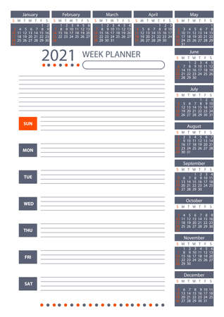2021 Week Planner Calendar. Poster Vector Template. 向量圖像