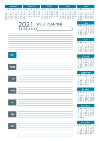 2021 Week Planner Calendar. Blue color. Week starts sunday. Poster Vector Template. Illustration