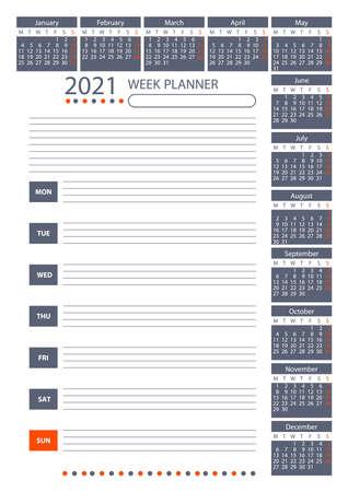 2021 Week Planner Calendar. Week starts monday. Poster Vector Template.