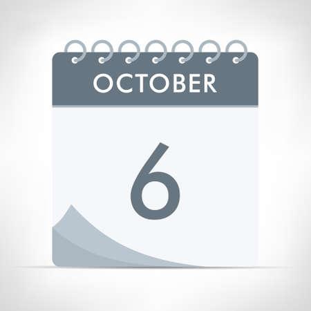 October 6 - Calendar Icon - Vector Illustration. Gray calendar.