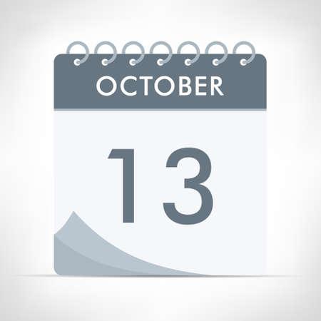 October 13 - Calendar Icon - Vector Illustration. Gray calendar.